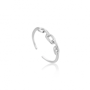 Silver Links Adjustable Ring