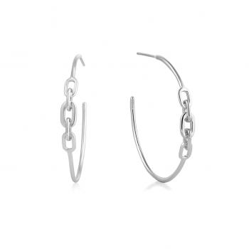 Silver Links Hoop Earrings