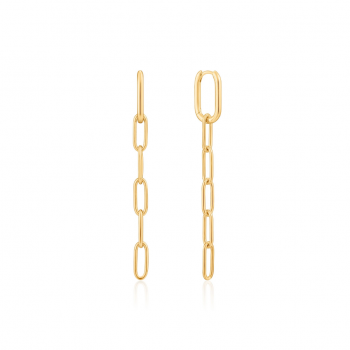 Gold Cable Link Drop Earrings