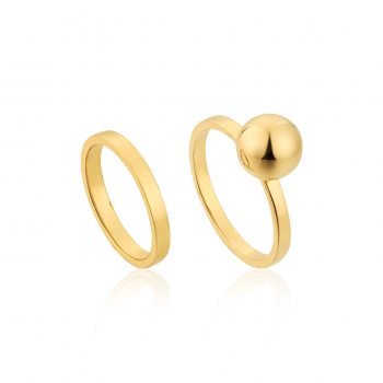 Gold Orbit Double Ring Set