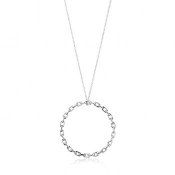 Silver Chain Circle Pendant...