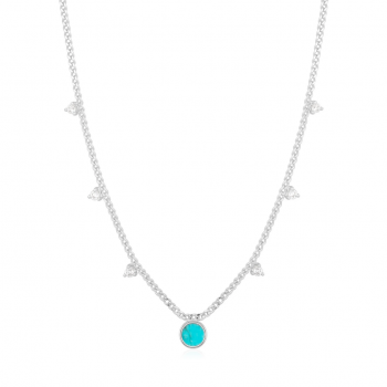 Silver Turquoise Drop Disc...