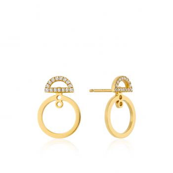 Gold Shimmer Pavé Hoop Ear...