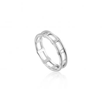 Silver Modern Bar Ring
