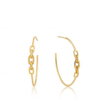 Gold Links Hoop Earrings