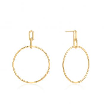 Gold Cable Link Hoop Earrings